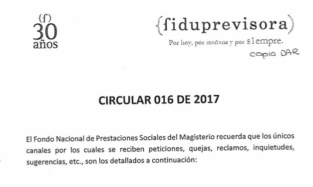 CIRCULAR 016 de 2017 .:. Fiduprevisora