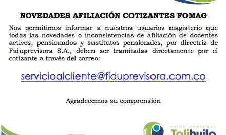 Novedades Afiliación Cotizantes FOMAG