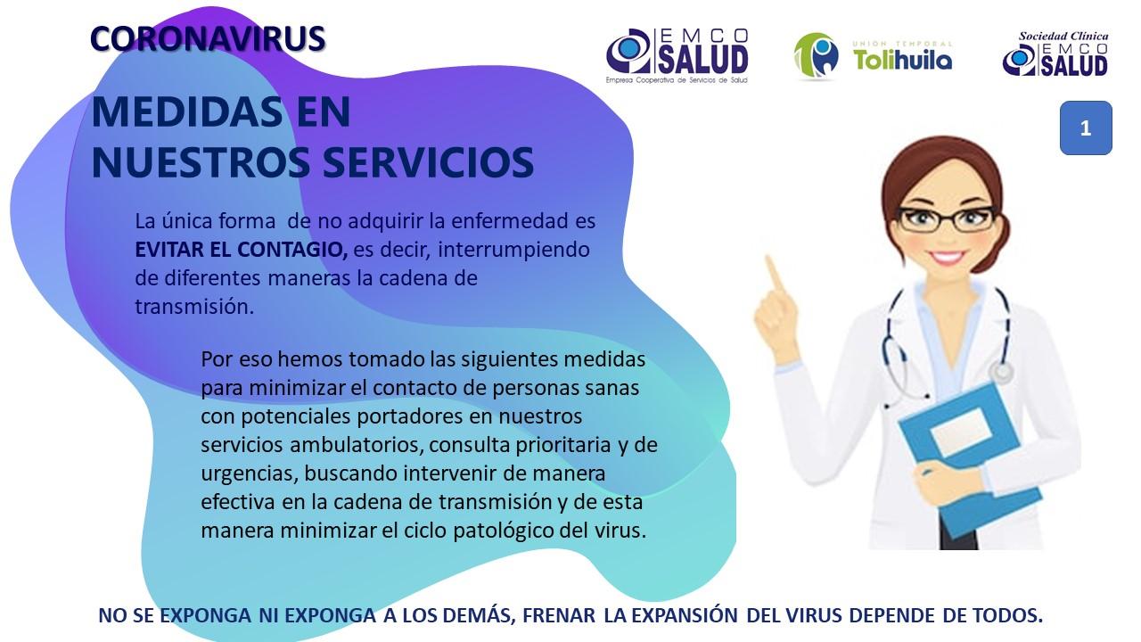 Coronavirus – Medidas en nuestros servicios 1