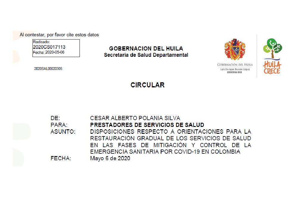 DISPOSICIONES DE LA SECRETARIA DE SALUD DEL HUILA RESPECTO A ORIENTACIONES PARA LA RESTAURACIÓN GRADUAL DE LOS SERVICIOS DE SALUD