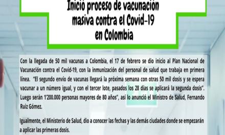 Inició proceso de vacunación masiva contra el Covid-19 en Colombia