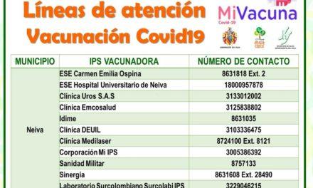LÍNEAS DE ATENCIÓN PARA VACUNACIÓN COVID19