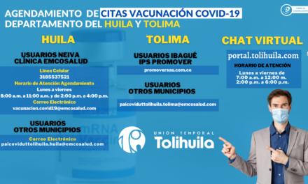 AGENDAMIENTO DE CITAS DE VACUNACIÓN COVID-19 DEPARTAMENTO DEL HUILA Y TOLIMA
