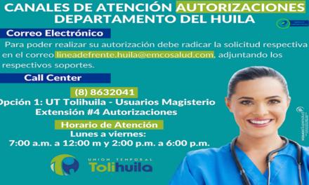 CANALES DE ATENCIÓN AUTORIZACIONES HUILA